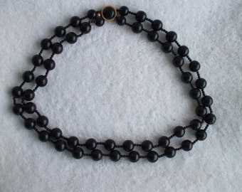 Black Beads Double Strand Necklace 80s,  Stamped Japan