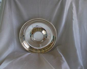 "Sheridan Silver Plate Oval Tray, Bowl, Dish Modern Design,  Raised Center,  10"" Round"