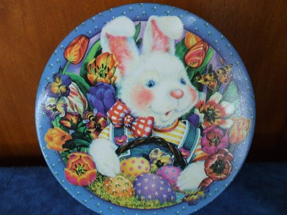 Bunny Rabbit TIN. Lots of Colorful Eggs and Few Bumble Bees and Butterflies