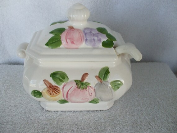 Ceramic SOUP TUREEN , with Lid and Ladle.  Fruits and Vegetables adorn top and sides.