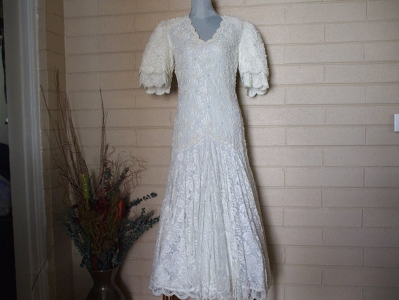 RESERVED -----Laurence Kazar White Lace Beads, Seed Pearls Wedding Gown., Bell Sleeves, 80s,SZ-3XL- SALE