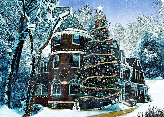 Victorian House Snow Scene Decoration Print Xmas Christmas