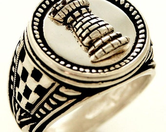 Rook Chess piece Mens Signet ring Sterling Silver