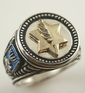 10k Gold Israel Medal of Valor Sterling Silver ring