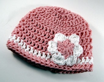 crocheted beanie with daisy for newborn--baby gaga-Hat No. 19
