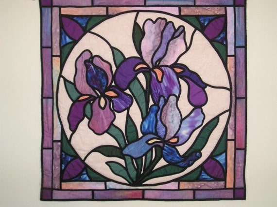Iris Fantasy Stained Glass Applique Pattern