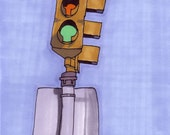 Traffic Light-5x7 inch Print from Original Illustration