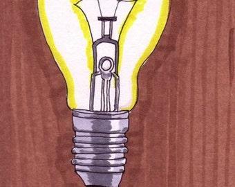 Lightbulb-5x7 inch Print from Original Illustration