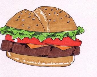 Cheeseburger-5x7 inch Print from Original Illustration