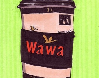 Wawa Coffee (Green)-5x7 inch Print from Original Illustration