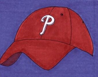 Phillies Cap (Blue)-5x7 inch Print from Original Illustration