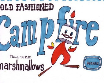 Campfire Marshmallows-5x7 inch print from Original Illustration