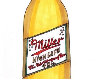 Miller High Life-5x7 inch Print from Original Illustration