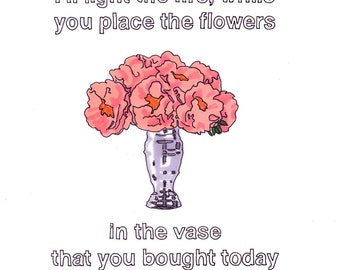 Our House/Peonies- 8x10 Print from Original Illustration