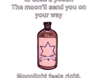 Moonlight Feels Right/Potion- 8x10 Print from Original Illustration