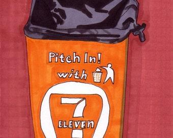 Trash Can- 5x7 Framed Original Illustration