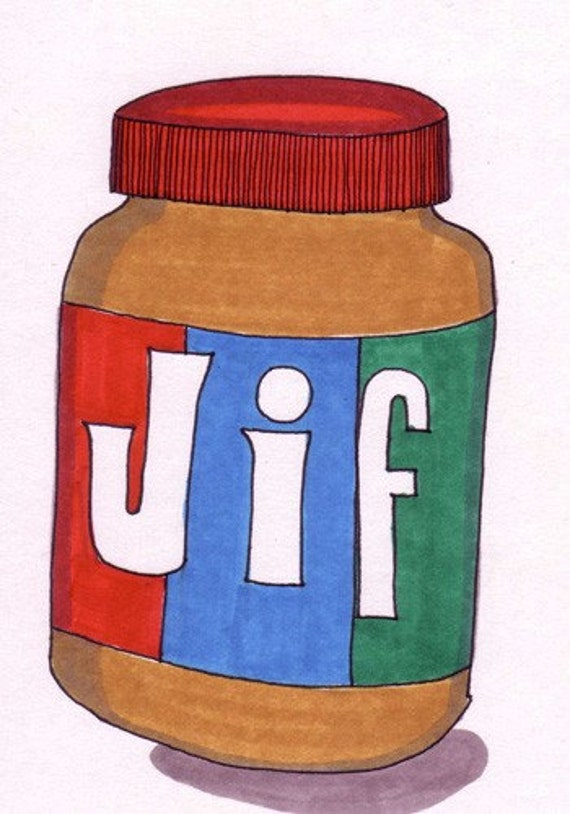 JIF Peanut Butter-5x7 inch Print from Original Illustration