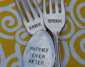Bride and Groom Vintage Wedding Spoon and Fork Table Marker Set