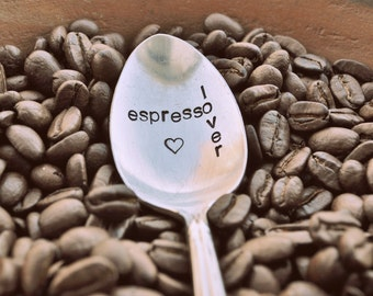 Espresso Lover - Hand Stamped Vintage Coffee Spoon by jessicaNdesigns