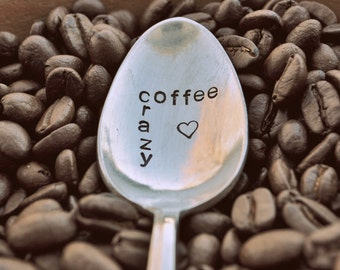 Coffee Crazy - Hand Stamped Vintage Coffee Spoon by jessicaNdesigns
