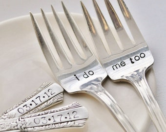 I Do, Me Too - Vintage Wedding Cake Fork Set