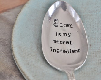 LOVE is my secret ingredient (TM) - Large Hand Stamped Vintage Serving Spoon. For the Baker/Cook in your life