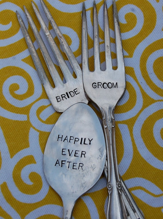 Bride and Groom Vintage Wedding Spoon and Fork Table Marker Set