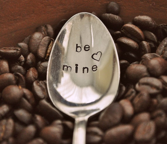 BE MINE - Valentine's Day Hand Stamped Vintage Coffee Spoon for (coffee) lovers