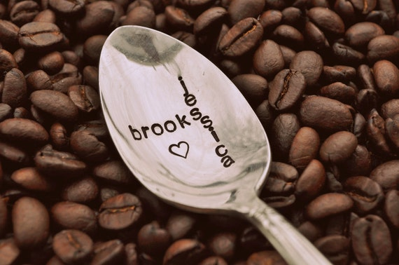 Us Two Lovers -  Hand Stamped Vintage Coffee Spoon FOR YOUR (coffee) LOVER