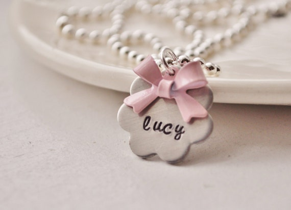 Pretty Little Bow- Personalized Flower Necklace For Little Girls - Hand Stamped by jessicaNdesigns