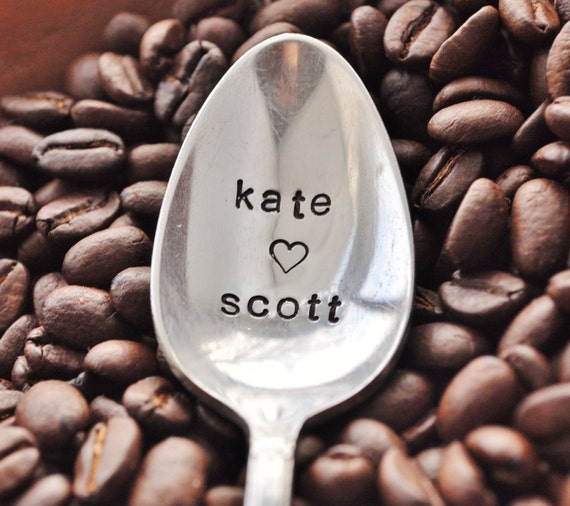Personalized Lovers Spoon -Vintage Hand Stamped Coffee Spoon FOR (coffee) LOVERS- personalized with your Names