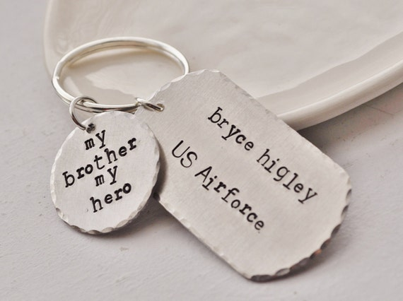 My Brother, My Hero - Personalized Dog Tag Key chain with NAME & MILITARY BRANCH