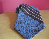 Brown and  Turquoise Brocade Necktie