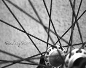 Rusted Wheel : black and white photography bicycle bike wheel rim spoke abstract monochrome home decor 8x10 11x14 16x20 20x24 24x30