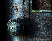 Secret Door : cemetery photography blue door midnight gothic relic dark art nouveau teal blue green halloween 8x12 12x18 16x24 20x30 24x36