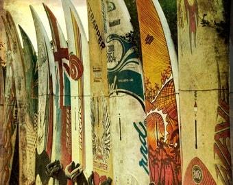 Surfboard photo 24x36 : surf photography beach surfer print maui hawaii summer yellow gold home decor