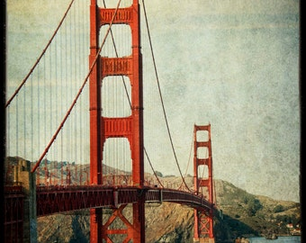 Golden Gate Bridge photo : san francisco photography bay area northern california historic red orange teal home decor 8x12 12x18 16x24 20x30