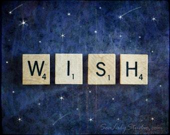 Wish : whimsical photography dream shooting star starry night midnight blue children fairy tale pop home decor 8x10 11x14 16x20 20x24 24x30