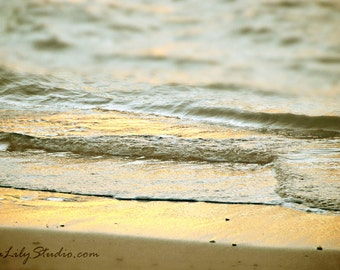Angel Sea : beach photography aqua gold sunset surf home decor 8x12 12x18 16x24 20x30 24x36