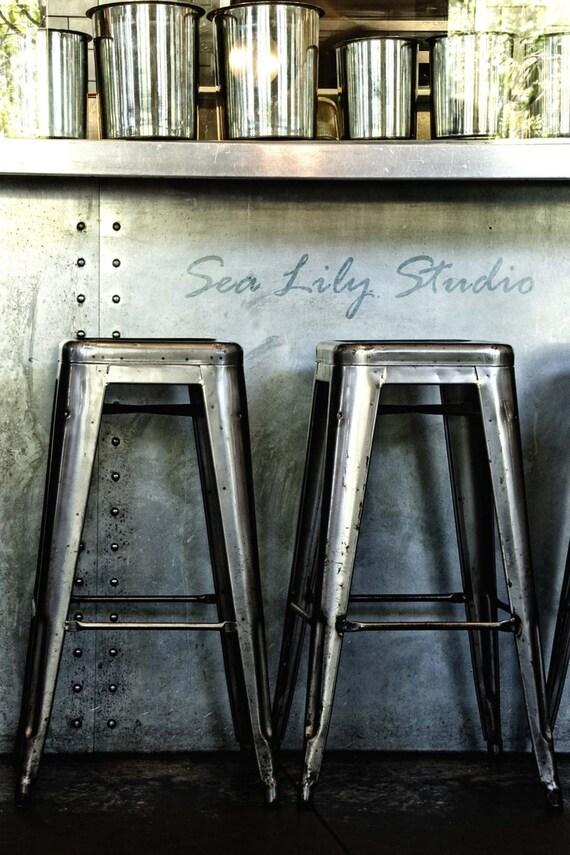 Bar Stools : photography industrial photo steel blue gray stark metal home decor restaurant 8x12 12x18 16x24 20x30 24x36
