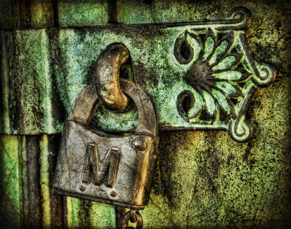Under Lock and Key 11x14 : cemetery photography secret vintage antique art nouveau green patina bronze home decor