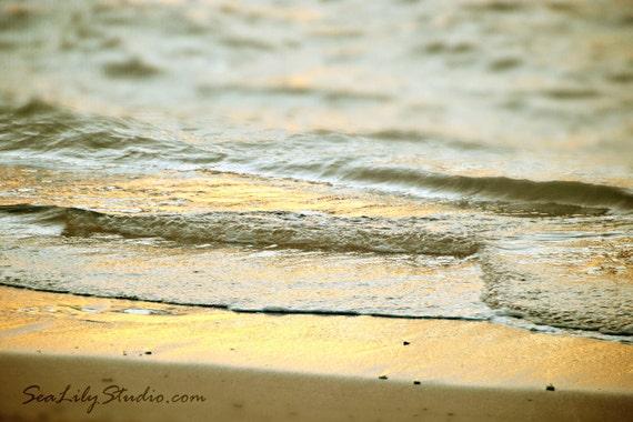 Angel Sea 24x36 : beach photography aqua gold golden sunset surf ocean sand maui hawaii shimmer sparkle home decor