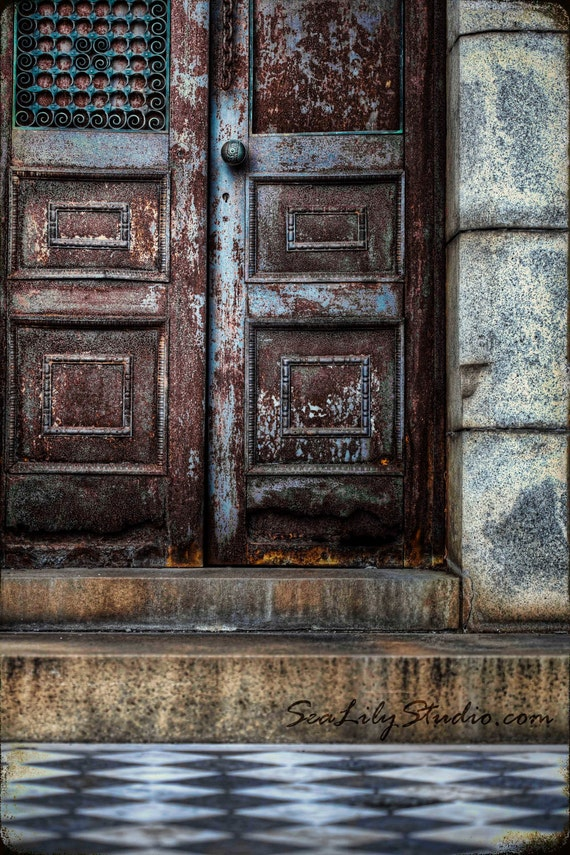 After Midnight : cemetery photography antique vintage door doorway tomb decay rust haunting dark gothic 8x12 12x18 16x24 20x30 24x36