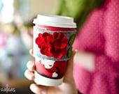 Holiday Hydrangeas Coffe Cozy Red with LOVE by Zanzalea