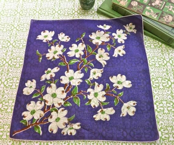 Vintage Amethyst Purple Cotton Handkerchief with White Dogwood Branch