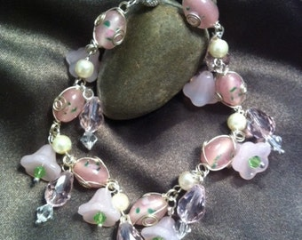 Pink Beaded and Silver Wire Wrapped Necklace - Visions of Pink
