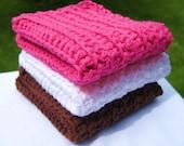 Dishcloths, Crochet, Cotton, Hot Pink, White, Chocolate Brown, Handmade Neopolitan Ice Cream Crocheted Cotton Dishcloths-Set of 3 by MontanaDaisyGirl on Etsy