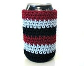 Can Cozy in Maroon, Silver and Black  -  by MontanaDaisyGirl on Etsy