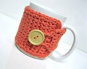 Coffee Mug Cozy in Tangerine, Coffee Mug Cozy, Tea Cozy, Coffee Accessories, Teachers Gifts, Coffee Cup Cozy, Coffee Lover Gift, Coffee Wrap