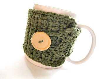 Coffee Mug Cozy in Olive Green, Coffee Mug Wrap, Coffee Hugger, Coffee Accessories, Teachers Gift, Coffee Lover Gift, Cup Holder